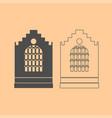 church building dark grey set icon vector image vector image