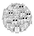 circle shape coloring page with owls black and vector image