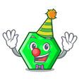 clown octagon mascot cartoon style vector image