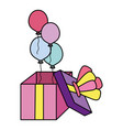 color open present girf balloons style vector image