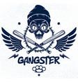 criminal tattoo gang emblem or logo vector image vector image
