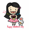 cute girl in love holding roses bouquet valentine vector image vector image