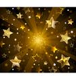 Dark Radiant Background with Golden Stars vector image vector image