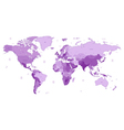detailed world map violet colors vector image vector image