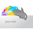 dolphin print symbol cmyk header vector image vector image