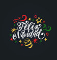 feliz navidad handwritten phrase translated from vector image