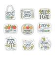 fresh healthy organic vegan food logo labels set vector image
