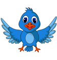 Funny blue bird cartoon posing vector image vector image