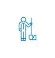 gardener with shovel linear icon concept gardener vector image