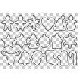 gingerbread outline objects set vector image