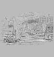 grey hand drawing st petersburg 7 vector image