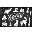 halloween clipart set on blackboard background vector image vector image