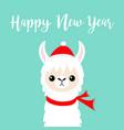 happy new year llama alpaca baby face santa red vector image vector image