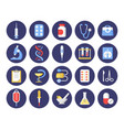 healthcare industry round flat icons set vector image