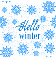 hello winter typographic poster hand drawn phrase vector image vector image