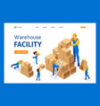 isometric the work movers in warehouse vector image vector image