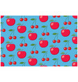 light blue fruit seamless pattern with apples vector image vector image