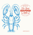 lobster hand drawn seafood engraved style vector image