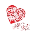 love you lettering with hand drawn heart in vector image vector image