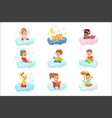 lovely little boys and girls sitting on a clouds vector image vector image