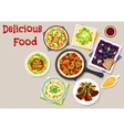 Lunch dishes with salads icon for menu design vector image vector image
