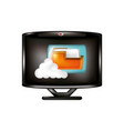 monitor with cloud computing and folder vector image vector image