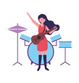 musician woman with guitar and drums music vector image