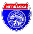 nebraska flag icons as interstate sign vector image vector image