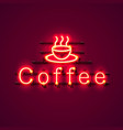 neon coffee text icon signboard vector image vector image