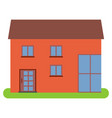 private house with a brown roof and red walls vector image vector image