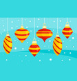 red yellow xmas toy banner flat style vector image