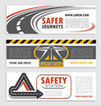 road and traffic safety banner template set vector image