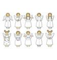 set of colored angel icons vector image vector image