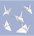 set of hand drawn paper origami birds on the blue vector image