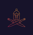 spartan logo with helmet and swords vector image vector image