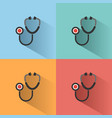 stethoscope flat color icon with shadow on vector image vector image