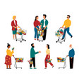 supermarket customers cartoon characters vector image