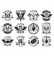 tattoo studio big set of vintage emblems vector image vector image