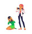 teen girl makes photo of bullied teen vector image vector image