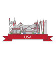 travel usa poster in linear style vector image vector image