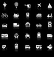 vehicle icons with reflect on black background vector image vector image