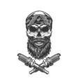 vintage bearded and mustached biker skull vector image vector image