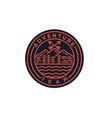 vintage monoline mountain peaks badge logo design vector image