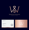 w d monogram wedding diamond jewelry emblem vector image