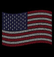 waving usa flag stylization of fire torch icons vector image