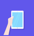 white tablet with blue screen in left hand vector image