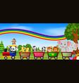 wild animal on train with rainbow vector image vector image