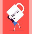woman carrying a giant coffee mug vector image