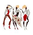silhouette fashion girl set vector image