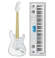 Isolated image of guitar and synthesizer vector image